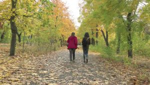 Two people walking in the park in autumn